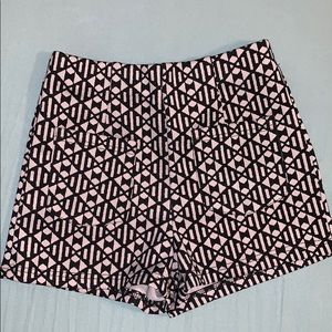 Black and white high waisted stretch shorts- S